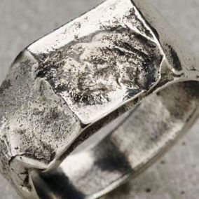 Molten Chunky Organic Men's Signet Ring