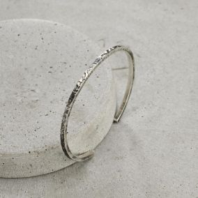 Personalised Men's Molten Silver Cuff