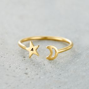 Personalised Moon & Star Open Ring