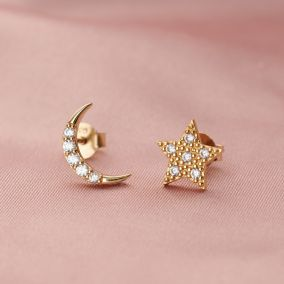 Moon & Star Stud Earrings with Cubic Zirconia