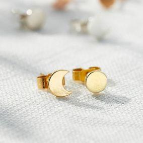 Sun & Moon Stud Earrings