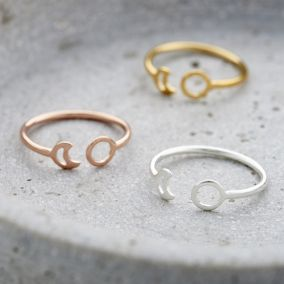 Fine Sun And Moon Open Ring