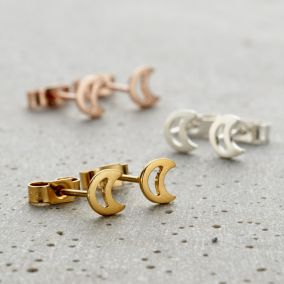 Fine Crescent Moon Stud Earrings