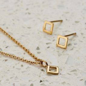 Mini Geo Necklace And Earrings Set
