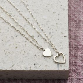 Mini Heart Charm Necklace Set