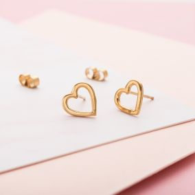 Open Mini Heart Stud Earrings