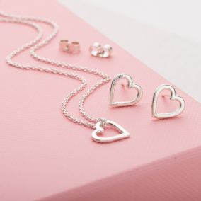 Mini Heart Necklace And Earrings Set