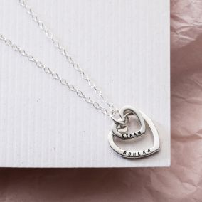 Personalised Mummy and Baby Heart Necklace