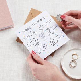 Personalised Sending Hugs Scratch Card