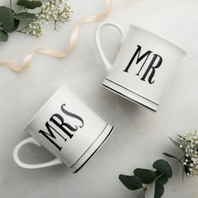 Vintage Style Mr & Mrs Ceramic Mugs