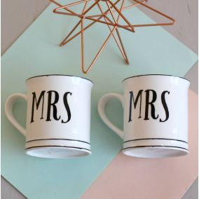 Vintage Style Mrs & Mrs Ceramic Mugs