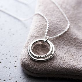 Personalised Two Ring Family Names Necklace