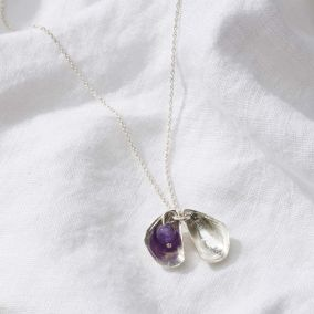 Personalised Mussel Shell Birthstone Necklace