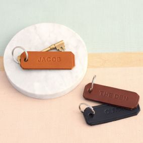 Personalised Embossed Leather Keyring