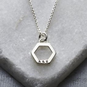 Personalised Geometric Hexagon Charm Necklace
