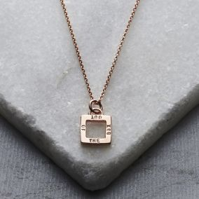 Personalised Geometric Square Charm Necklace
