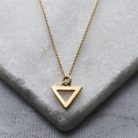 Personalised Geometric Triangle Charm Necklace