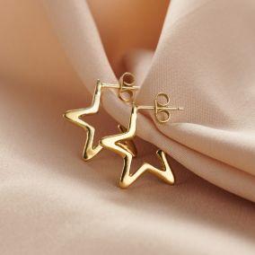 Open Star Hoop Earrings