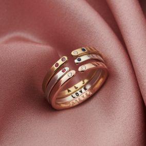 Personalised Birthstone Open Ring