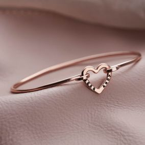 Silver Personalised Heart Open Bangle