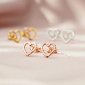 Open Mini Heart Stud Earrings