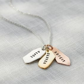 Personalised Mixed Gold Organic Tag Necklace
