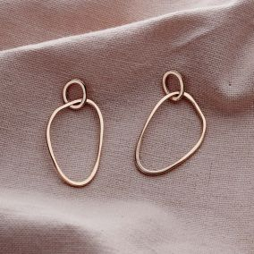 Fine Organic Personalised Double Hoop Stud Earrings