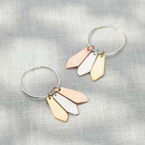 Mixed Gold Organic Tag Hoop Earrings