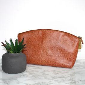 Personalised Large Leather Washbag