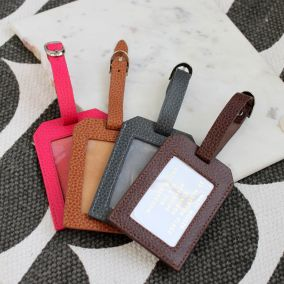 Personalised Leather Luggage Tag With Label