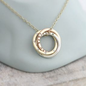 Personalised 9ct Gold Russian Diamond Necklace