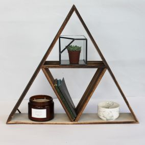 Wooden Geometric Triangle Shelf