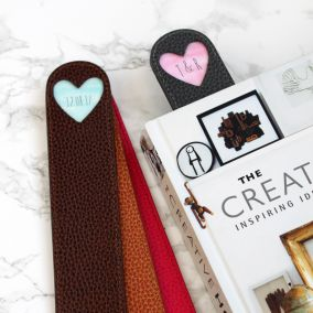 Personalised Leather Heart Bookmark