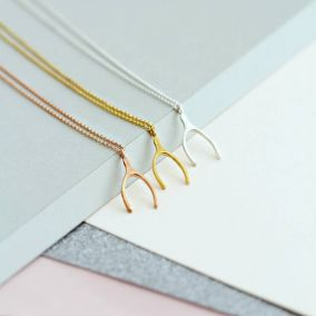 9ct Gold Lucky Wishbone Necklace