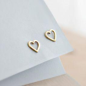 9ct Gold Mini Heart Stud Earrings
