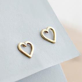 9ct Gold Mini Heart Stud Earrings