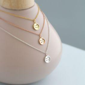Silver Mini Button Necklace