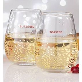 Christmas Quote Stemless Wine Glass Set