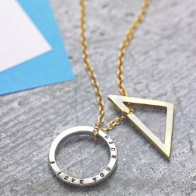 Personalised Triangle and Circle Necklace