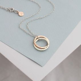 Personalised 9ct Rose Interlinking Halo Necklace