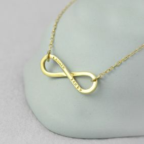 Personalised 9ct Yellow Gold Infinity Necklace