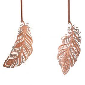 Pair Of Copper Filigree Leaf Decorations