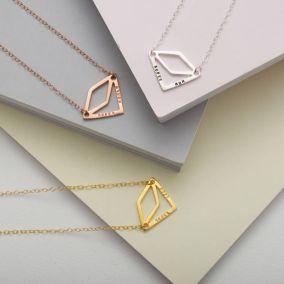 Personalised Diamond Geometric Necklace