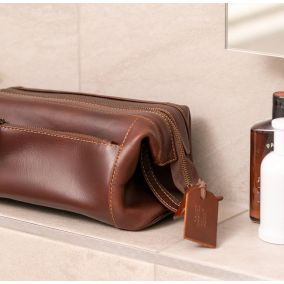Personalised Genuine Leather Double Pocket Wash Bag