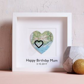 Personalised Heart Marks The Spot Vintage Map Picture