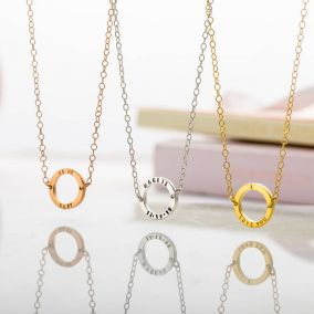 Personalised Mini Geometric Circle Necklace