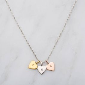 Personalised Tricolore Mini Heart Charm Necklace