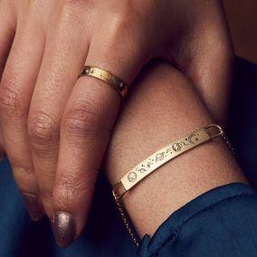 Personalised Moon & Starburst Diamond Ring