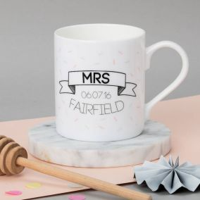 Personalised Pair Of Wedding Banner Mugs