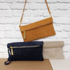 Personalised Suede Clutch Bag